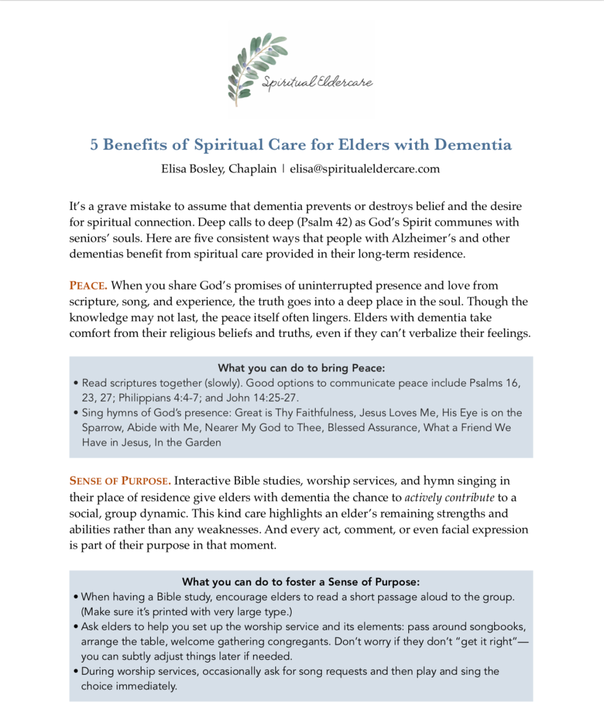 5 benefits of spiritual care for elders with Alzheimer's and dementia (shorter version)